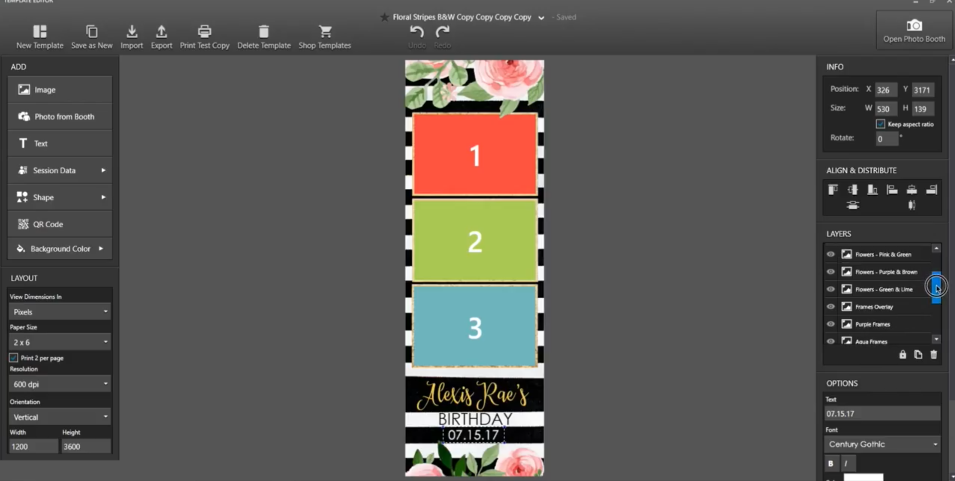 Floral Stripes DSLRbooth Template