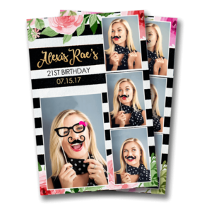 Floral Stripes Postcard Mirror Booth