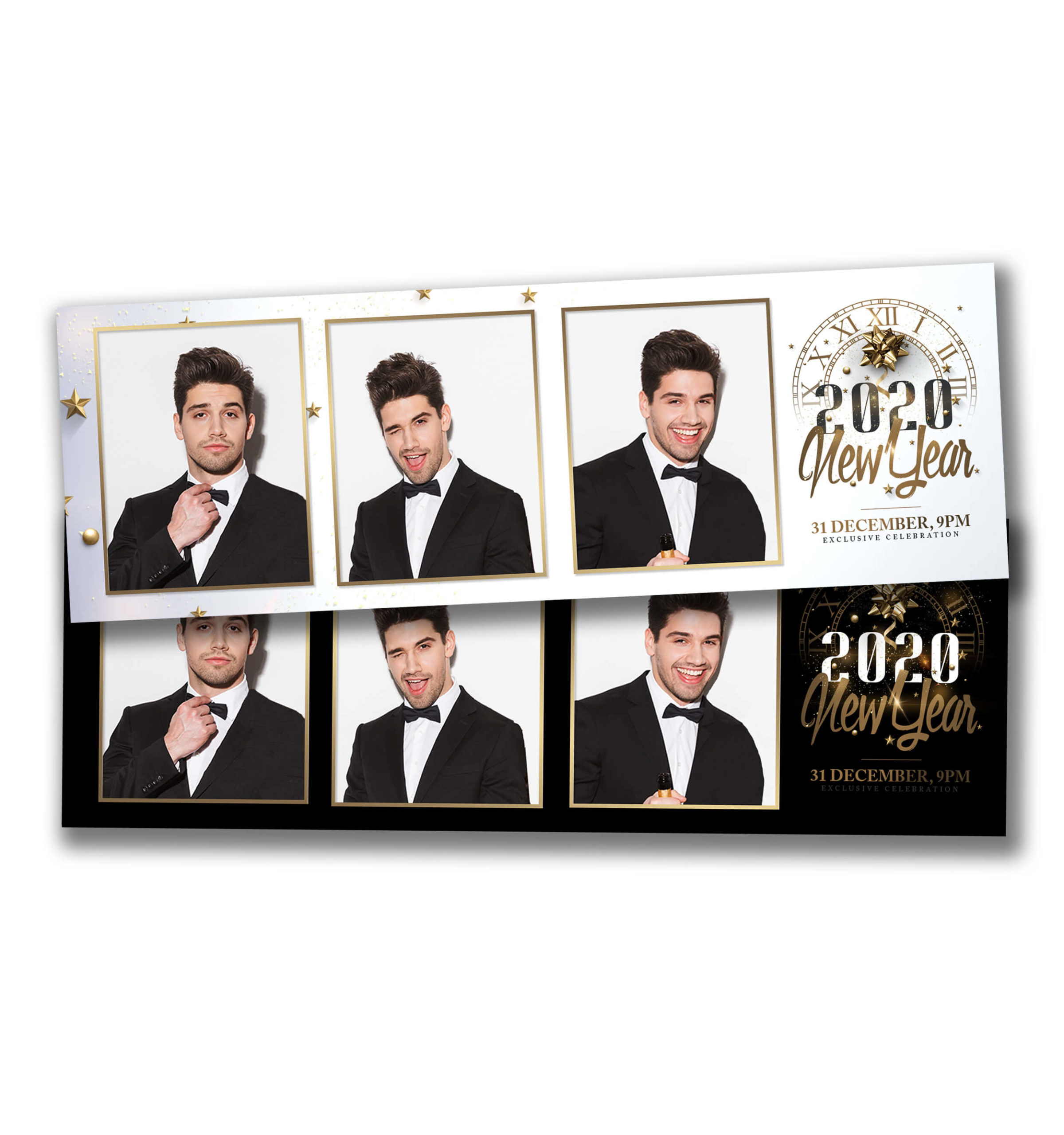 Classy NYE Portrait Strips Photobooth Template
